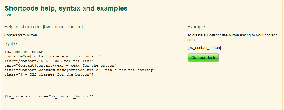 shortcode help, syntax and examples – [bw_contact_button]