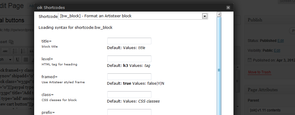 oik shortcodes dialog – showing syntax for [bw_block]