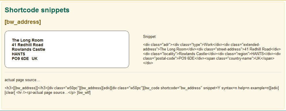 shortcode snippets – [bw_address]