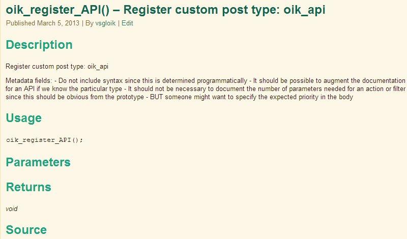 oik_api display – Part 1 of 2