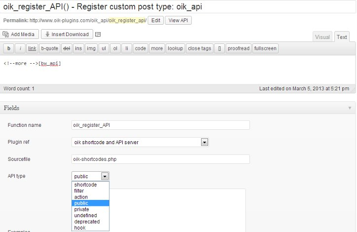 oik_api – Edit content and fields